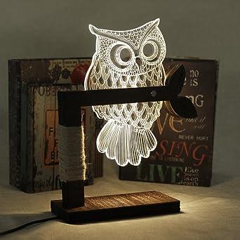 Eshion Home 3D Owl Shape LED Desk Table Light Lamp Night Light US Plug