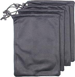 4 PCS Multi Purpose Nylon Mesh Drawstring Storage Ditty Bags for Travel & Outdoor Activity