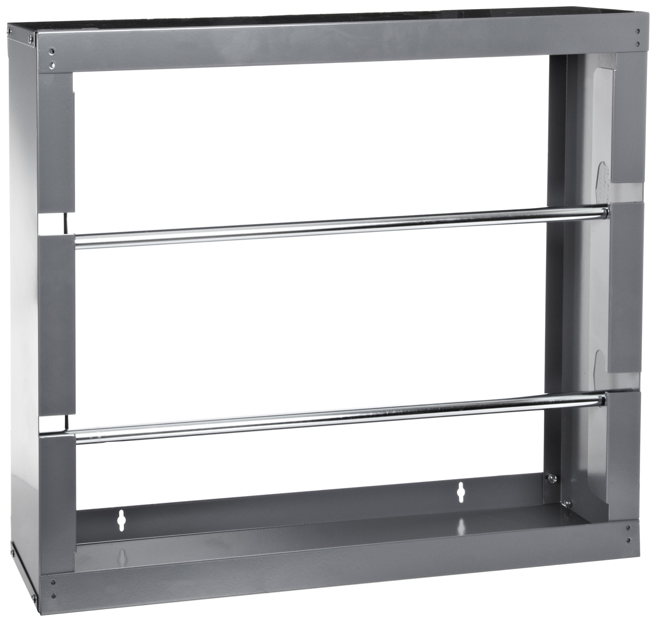 Durham 384-95 Gray Cold-Rolled Steel Wire Spool Rack with 2 Rods, 26-1/8'' Width x 17-7/8'' Height x 6'' Depth