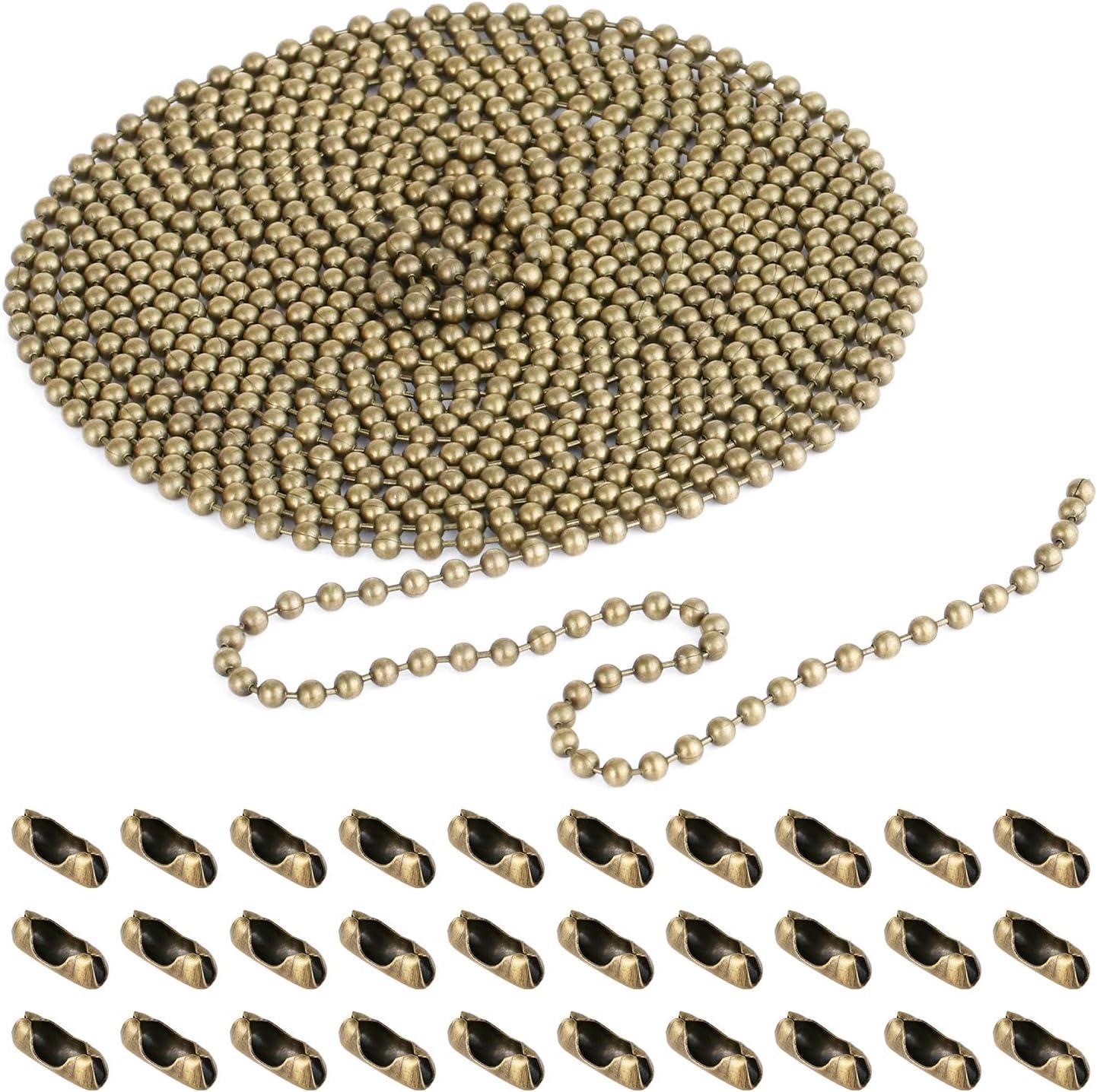 Extensión de cadena de 10 m con conector, cadena de bronce con cuentas de cadena con 30 conectores a juego para la cadena de tracción de luz de ventilador de techo (3,2 mm de diámetro)
