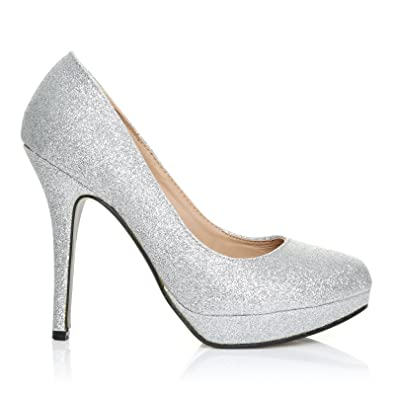 4df310c578e54c Eve - High Heels Stöckelschuhe silber Glitter Glitzer Stilettos Plateau  Pumps - Silber Glitzer