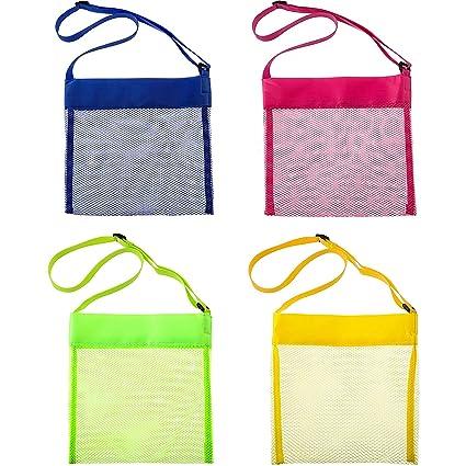 Amazon.com: 8 bolsas de playa de malla de colores, bolsas de ...