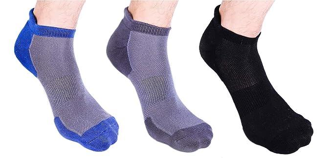 Heelium Bamboo Men's Ankle Socks for Running Sports & Gym, Black Grey White & Blue, Anti Odour Breathable Durable Anti Blister Free Size (Shoe Size UK7 - UK12), Combo Pack of 3 Pairs