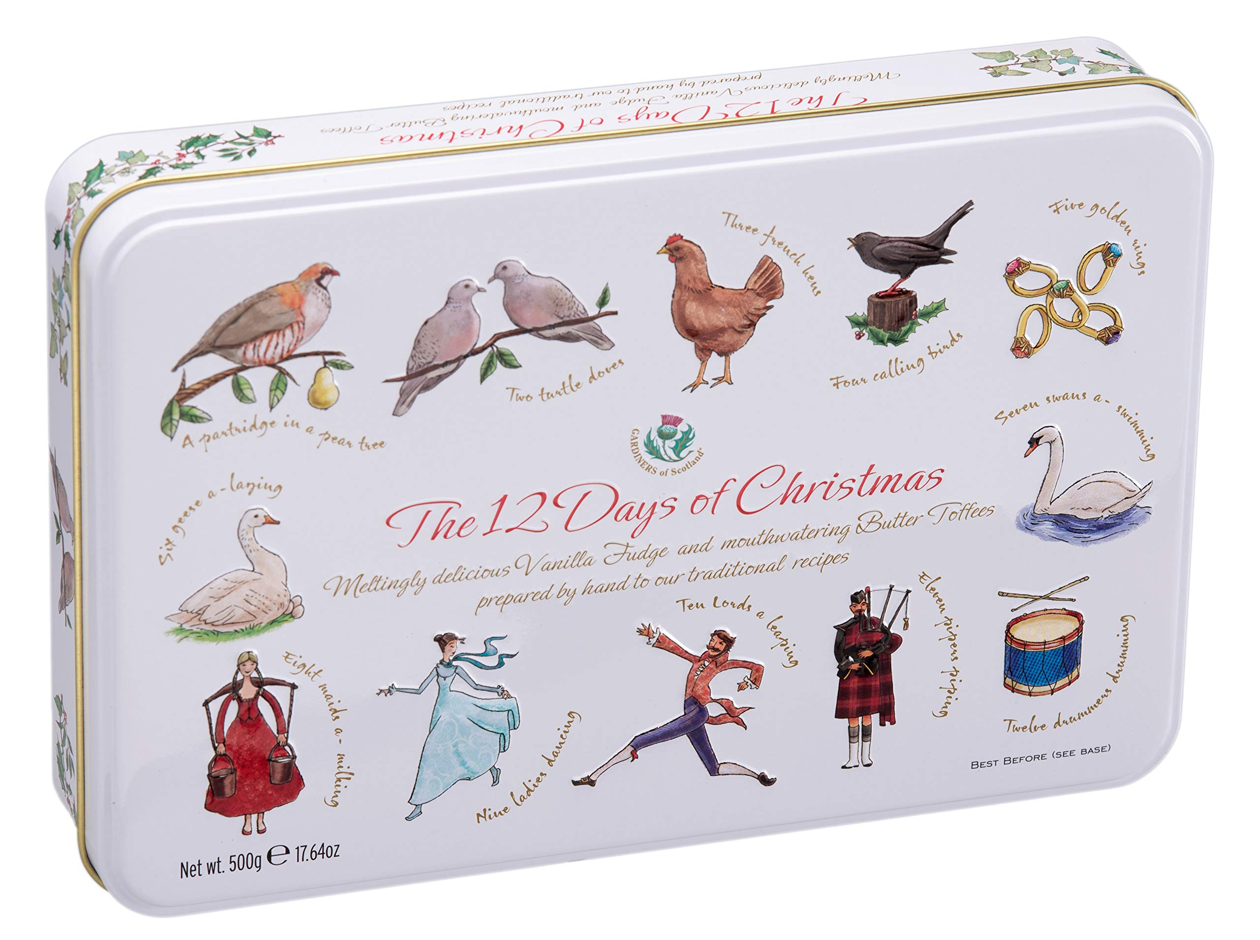 Gardiners of Scotland, ''The 12 Days of Christmas'' Handmade Vanilla Fudge & Butter Toffees in Large Christmas / Holiday Embossed Tin, 17.6 Oz by Gardiners of Scotland