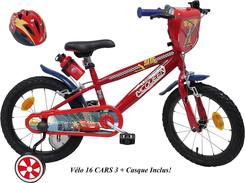 Bicicleta de 16 Pulgadas Disney Cars con 2 Frenos Caliper + estabilizadores + Casco Cars incluidos.