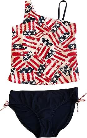 Aiihoo Kids Girls Two Piece Sleeveless Racer Back Tops with Bottoms Set Bathing Suit Swimwear Tankini