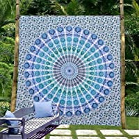 eSplanade Psychedelic Peacock Mandala Wall Hanging Floral Gold Bedding Tapestry Queen Size bedsheet (Blue)