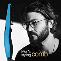 JoyeVic Hair Electric Comb for Men,Hair and Beard Straightening Styling Brush with Side Hair Detangling,Quick Hair Styler for Men,Hair Straightening Comb for Men Hair Styling Blue