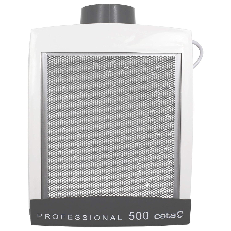 Cata Extractor de Humos | Modelo Professional 500 Cocinas, 125 W, 57 Decibelios, Plástico y Rejilla de Aluminio, Blanco