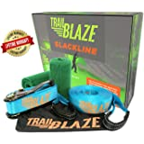 Slackline Kit With Tree Protectors, 50-Ft Easy Set-Up Slackline Set, Perfect Slacklines for Kids and Family Outdoor Fun; Slack Line Includes Everything You Need to Start Today