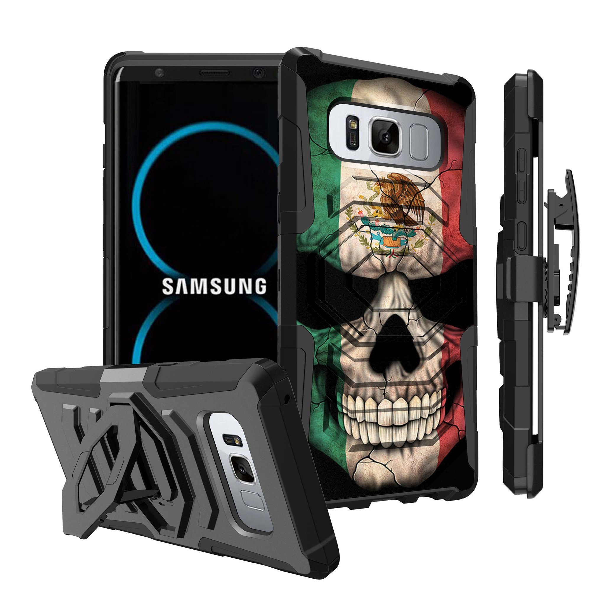 Untouchble Case for Samsung Galaxy Note 8, Note 8Holster Case [Max Alpha Holster] Dual Layer Hybrid Belt Clip Kickstand Cover Protector Rugged - Mexico Skull Flag