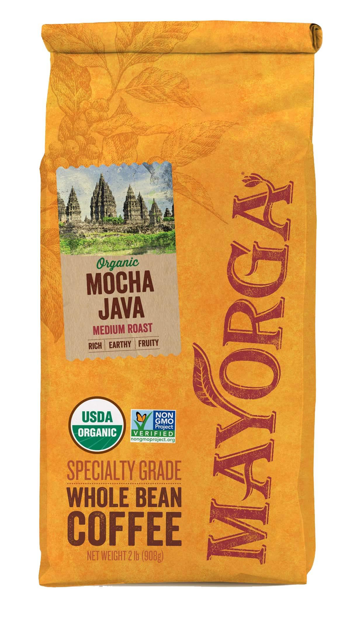 Mocha Java, 2LB, Mayorga Organics, Whole Bean Coffee, Medium Roast, 100% USDA Organic Certified
