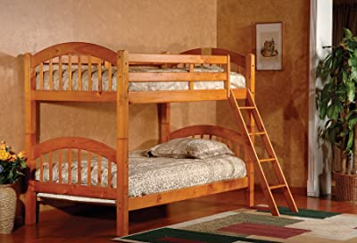 King's Brand Furniture B125H Wood Arched Design Convertible Bunk Bed, Twin, Honey Finish