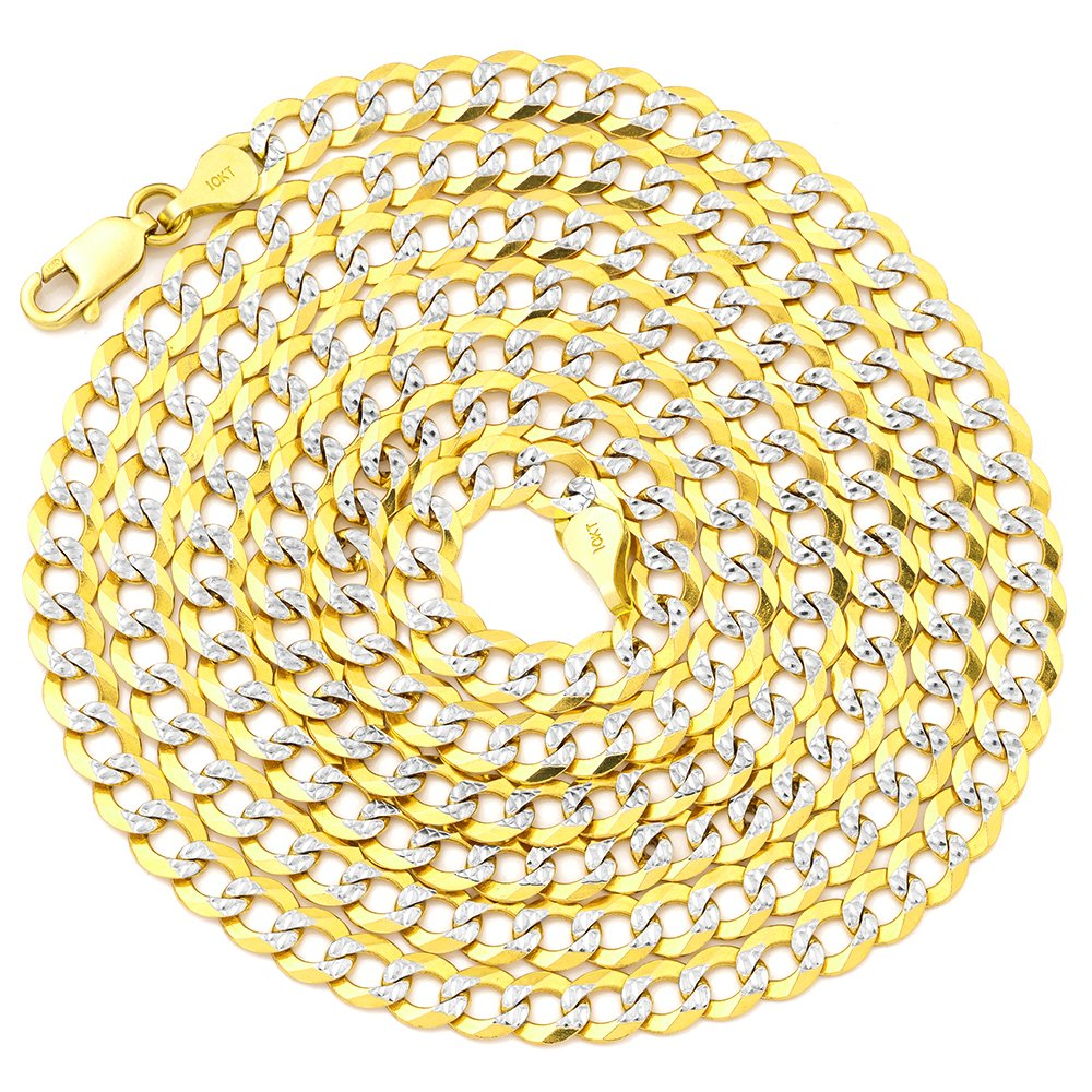 LoveBling 10K Yellow Gold 4.5mm 26'' Solid Pave Two-Tone Curb Chain Necklace with White Gold Pave Diamond Cut, with Lobster Lock by LOVEBLING