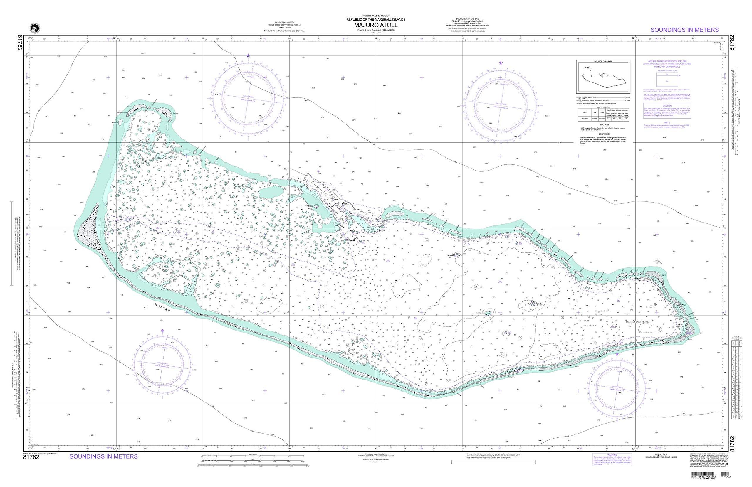 NGA Chart 81782 Majuro Atoll 54'' x 35'' Paper Chart