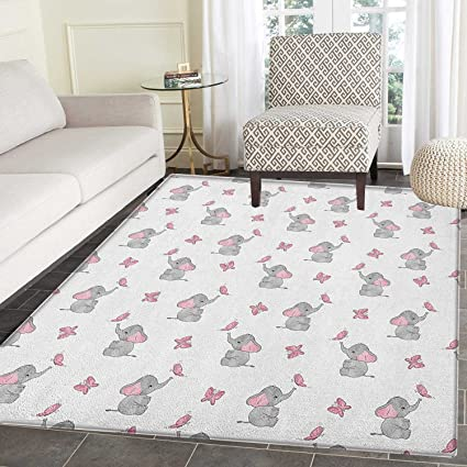 Elephant Nursery Rugs For Bedroom Baby Elephants Playing With Butterflies Design Circle Rugs For Living Room 3 X5 Grey Pale Pink White
