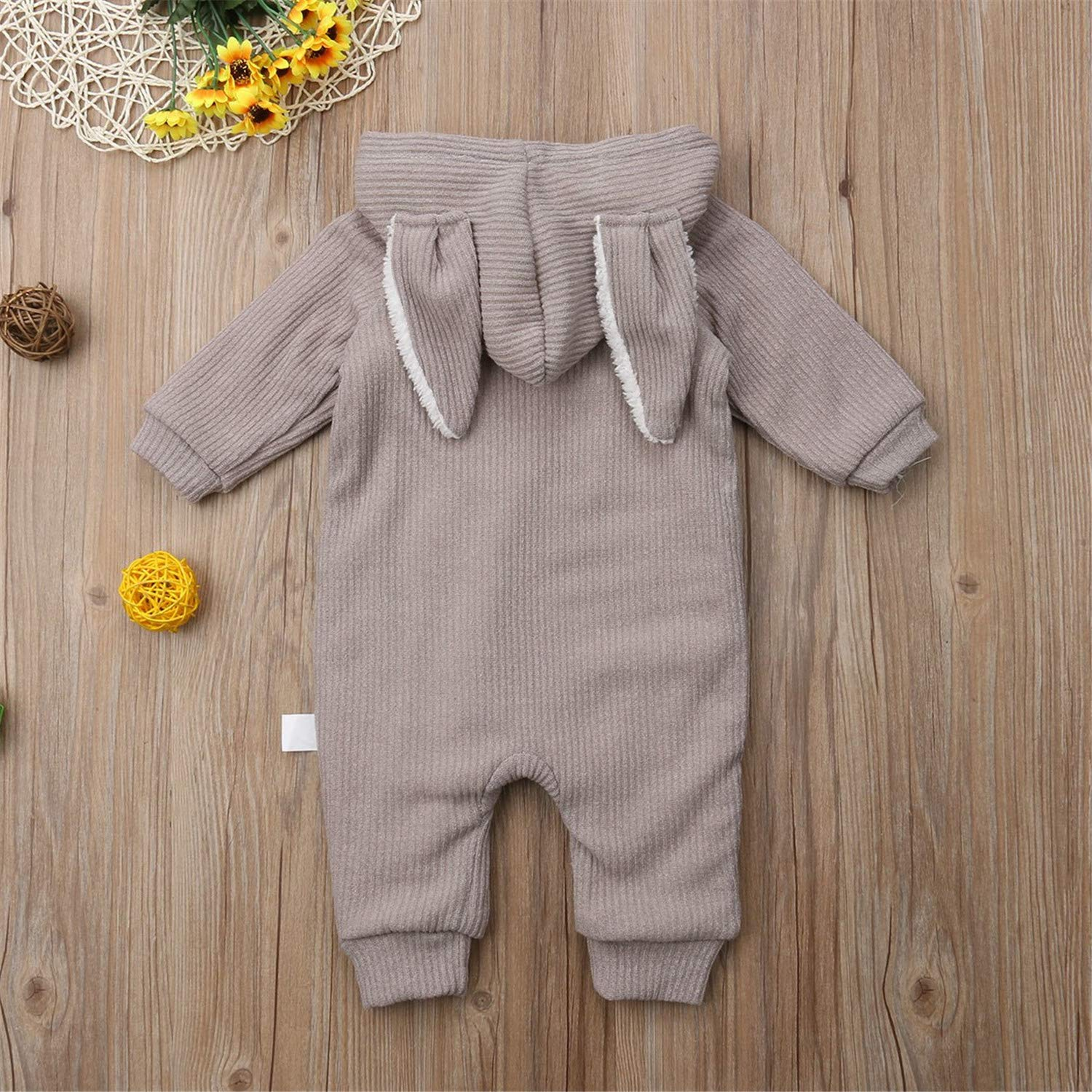 Sale Cute Newborn Baby Boy Girl Autumn Winter Clothes Long Sleeve Bunny Ear Hooded Romper Jumpsuit Warm Outfits Baby Clothing