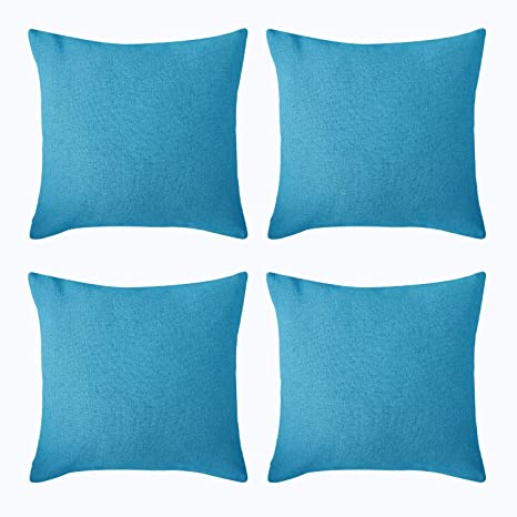 Deconovo Fundas de Cojín Almohada Cuadradas para Sofá Coche Cama Efecto Lino Decorativo con Cremallera Invisible 45 x 45 cm 4 Unidades Azul Cielo