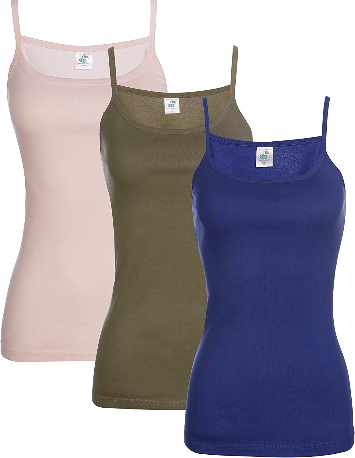 Slim Fit Blu Cherry 3 Pack Womens Plain Cotton Strappy Camisole Tank Top T Shirt Multi Pack