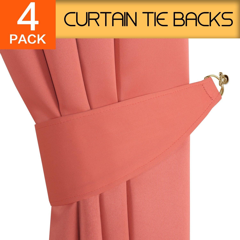 H.VERSAILTEX Tiebacks for Draperies Home Office Decorative Drapes Holdbacks Holders Tie Back Hooks for Curtains, Aqua, 2 Pair / 4 Pieces