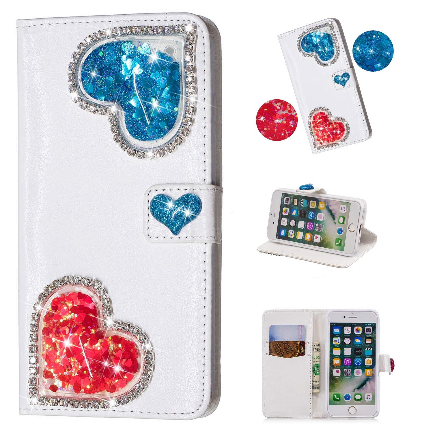 Yobby iPhone 7 Wallet Case,iPhone 8 Diamond Purse Case 3D Bling Floating Glitter Cute Heart White PU Leather Flip Cover with Card Holder Stand Magnetic Protective Shell-Blue by Yobby (Image #5)