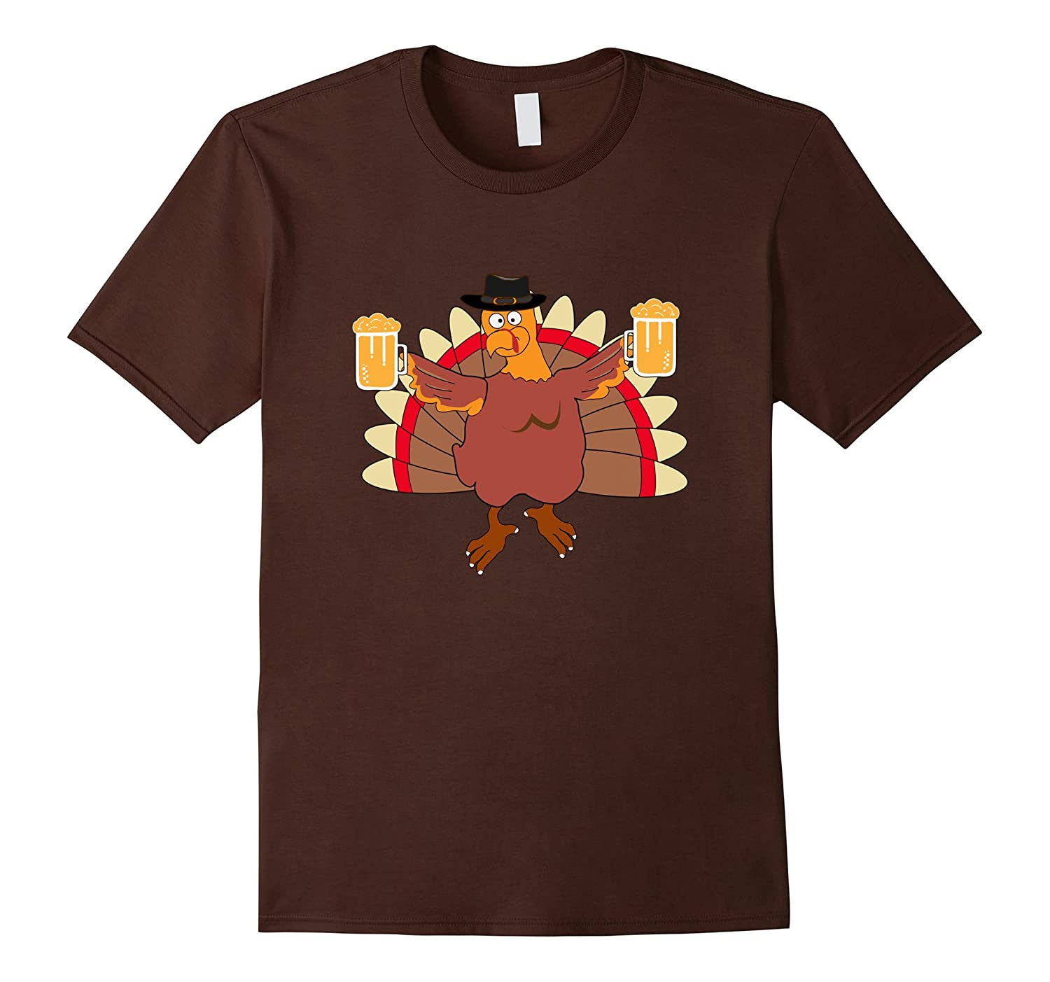 Turkey and Beer T shirt Funny Thanksgiving Turkey Tee-ANZ