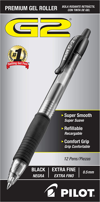 Black Pilot G2 Retractable Gel Ball Pens 12 Ct