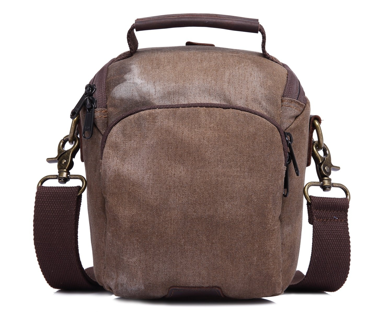 Color : Bronze, Size : S MUMUWU Mens Diagonal Bag Casual Bag Waterproof Canvas Bag New Camera Bag Retro