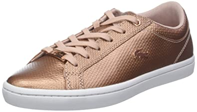 76190e4741587 Lacoste Straightset 318 2 Womens Casual Trainers in Light Pink - 4 UK