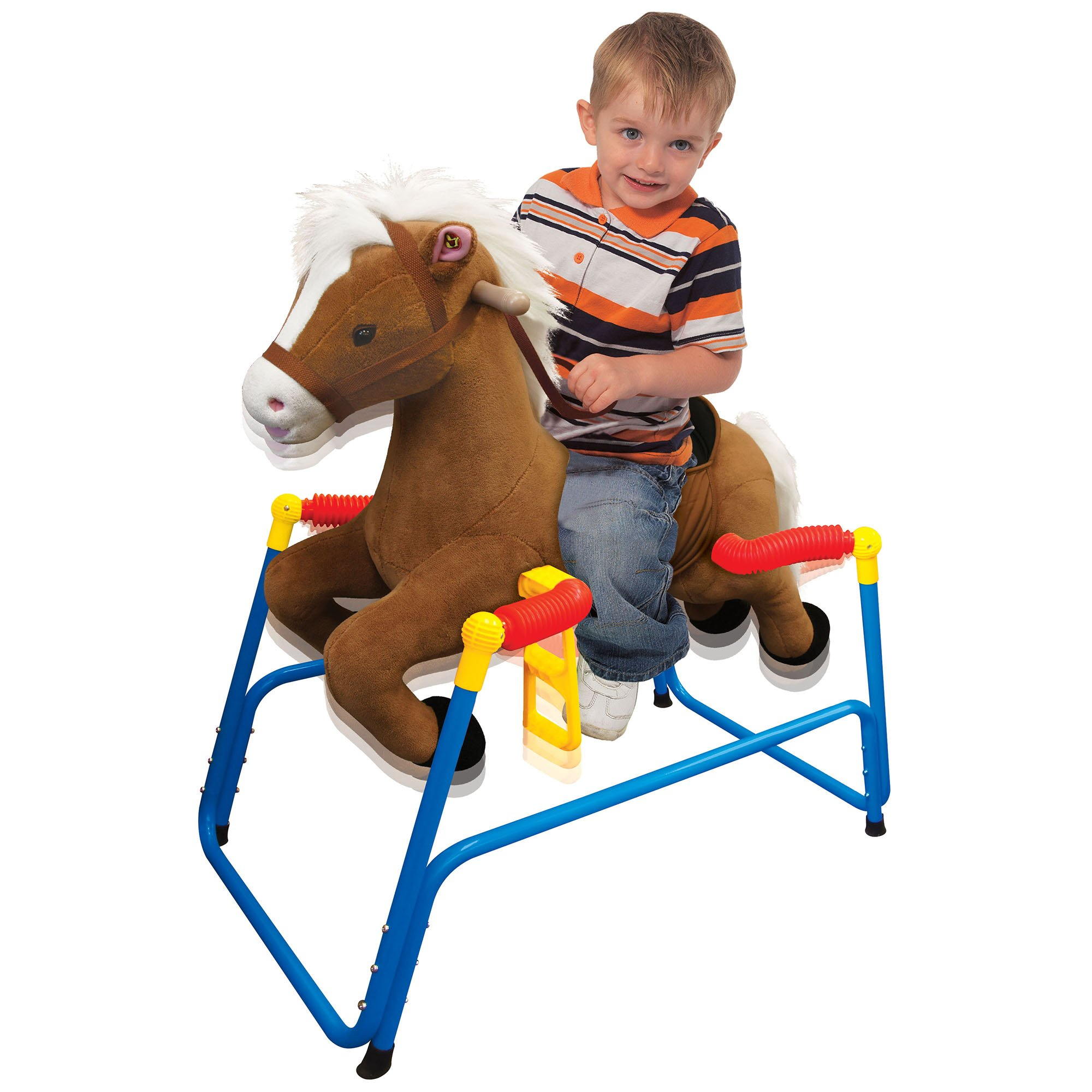 Kiddieland Rocking Plush Bounce n' Ride Pony with Handles, Brown | 044677 by Kiddieland Toys Limited (Image #2)