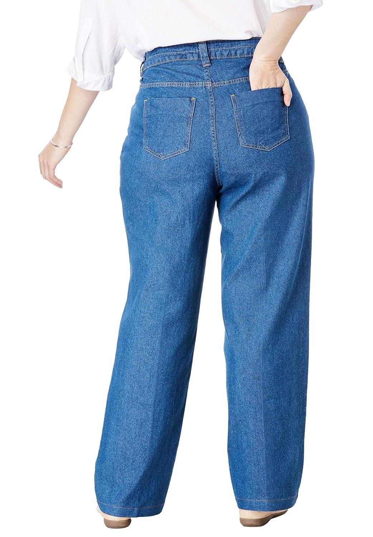 8948ffca3c1e6a Woman Within Women's Plus Size Wide Leg Cotton Jean at Amazon Women's Jeans  store