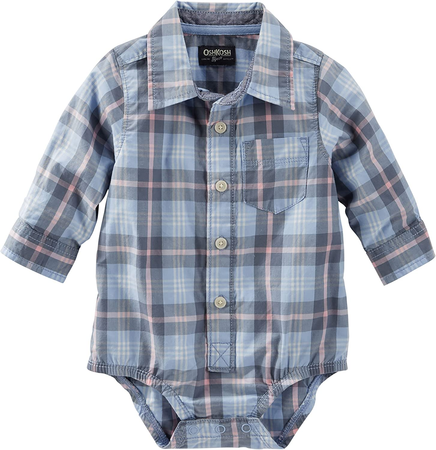 Blue//Green Plaid 24 Months US OshKosh BGosh baby boys Woven Bodysuit Button Down Shirt