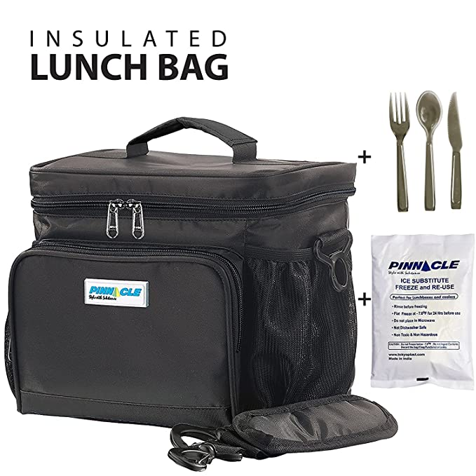 INSULATED LUNCH BAG KIT For Work - Pinnacle Cooler Bag for Adults, Ladies and Men + GEL ICE PACK and MATCHING CUTLERY - Durable Nylon, Double Zipper - Black