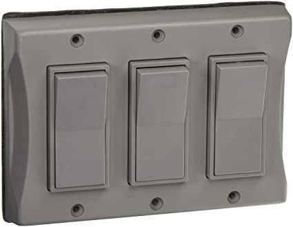 Hubbell 5129 0 3 Gang Weatherproof Cover Vertical Decorator Gray