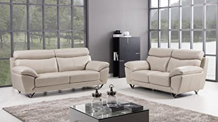 American Eagle Furniture 2 Piece Valencia Collection Complete Italian Grain  Leather Living Room Sofa Set, Light Gray