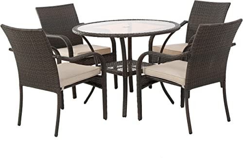 Christopher Knight Home Novena Outdoor Brown Wicker 5-Piece Dining Set