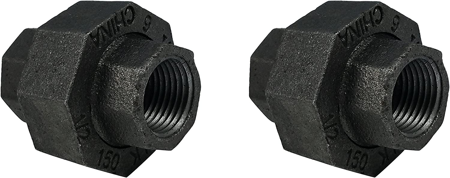 LDR Pipe Décor Industrial Steel Grey 1/2-Inch Union Fittings (2-Pack)