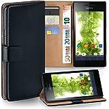 Pochette OneFlow pour Sony Xperia V housse Cover avec fentes pour cartes | Flip Case étui housse téléphone portable à rabat | Pochette téléphone portable étui de protection accessoires téléphone portable protection bumper en DEEP-BLACK