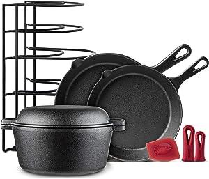 Cast Iron Cookware 5-Pc Set - 10