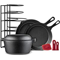 "Cast Iron Cookware 5-Pc Set - 10"" + 12"" Skillet + 5-Quart Dutch Oven+ Panrack Organizer + Silicone Handle Covers…"