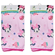 2-Pack Disney Baby Minnie Mouse Hooded Bath Towels, Boutique Pink
