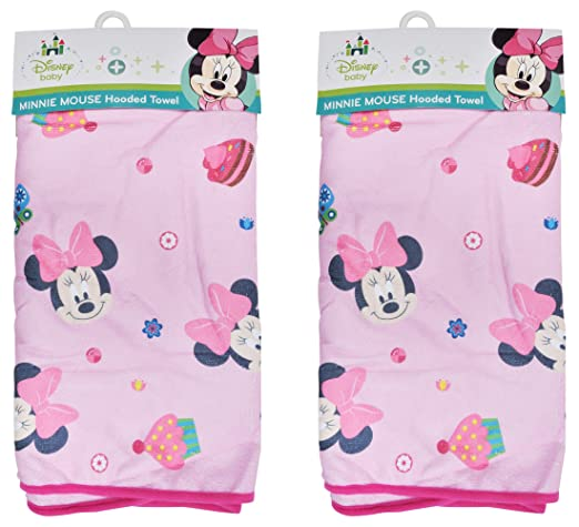 Amazon.com : 2-Pack Disney Baby Minnie Mouse Hooded Bath Towels, Boutique Pink : Baby