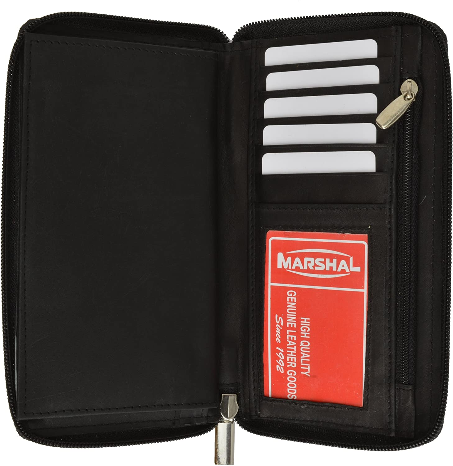Genuine Leather Checkbook Cover Zippered
