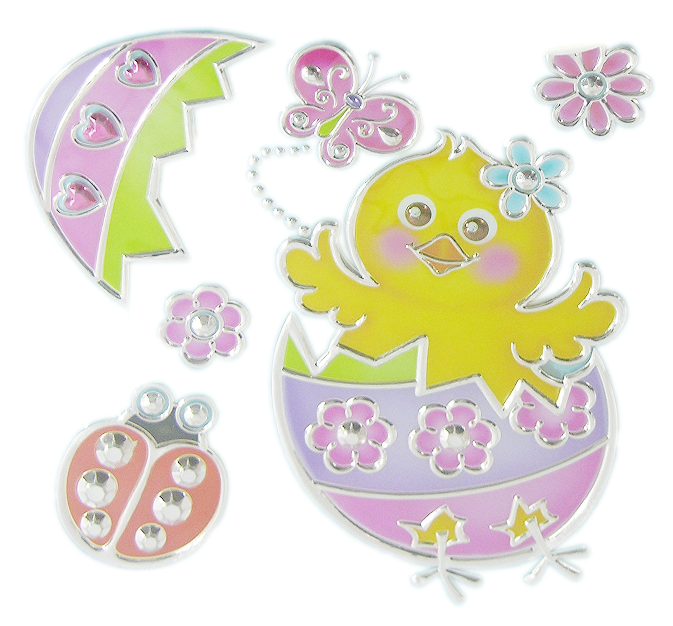 Easter Spring Window Decoration Bundle - Adorable Bunny Ducky and Chick Sun Catcher Window Decal Stickers (2-Pack Bunny & Chick) by EasterTime (Image #3)