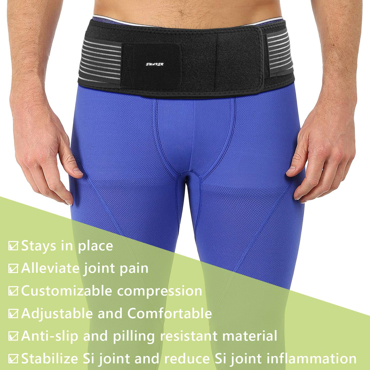 Si Belt for Women and Men - Sacroiliac Belt, Stabilize SI Joint | Relieve Sciatic, Pelvic, Lower Back and Leg Pain, Anti-Slip & Pilling-Resistant & Breathable