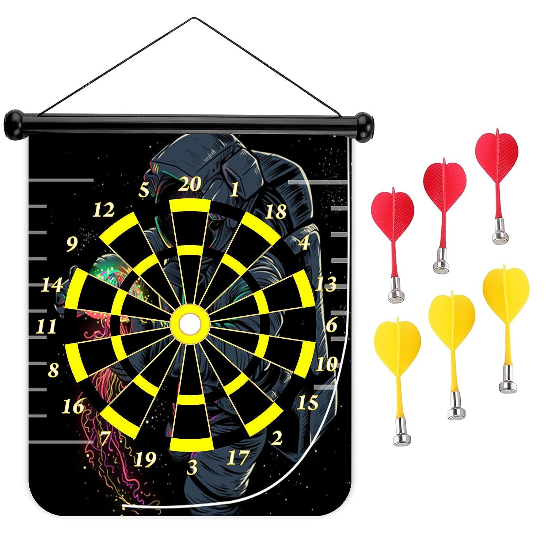 15インチMagnetic Dart Board Double Sided Hanging Dart Board Set and Bullseyeゲーム。クラゲ B0796RQ7TV