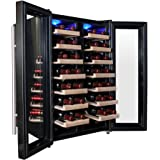 AKDY 32 Bottles Dual Zone Thermoelectric Freestanding Wine Cooler Cellar w/ Touch Control