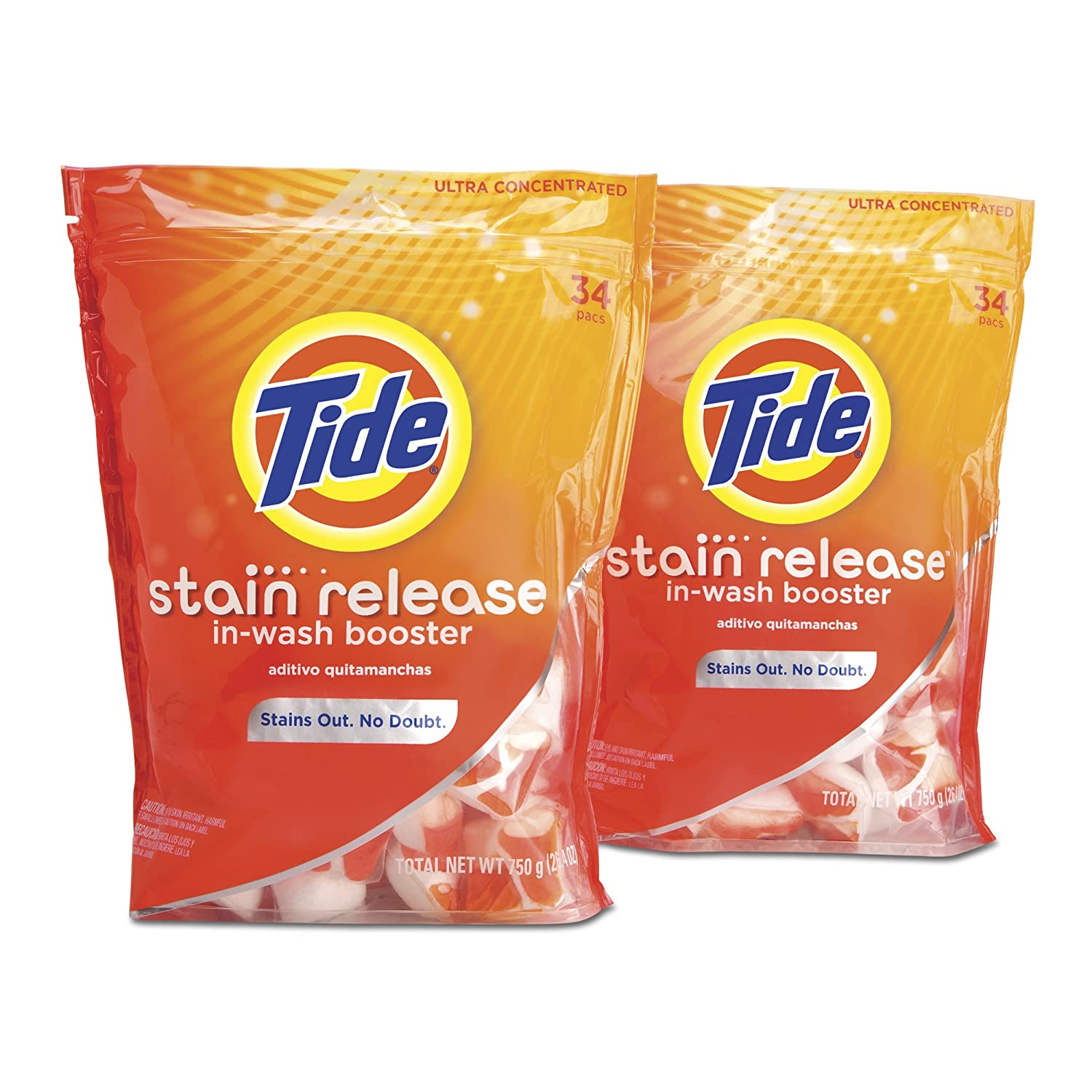 Amazon.com: Tide Stain Release Duo Pac In-Wash Booster Twin Pack, 34-count Bag [Amazon Frustration-Free Packaging]: Health & Personal Care