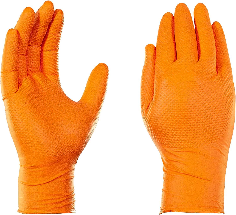 Amazon Com Gloveworks Hd Industrial Orange Nitrile Gloves With Raised Diamond Texture Grip Box Of 100 8 Mil Size Medium Latex Free Powder Free Textured Disposable Food Safe Gwon44100bx