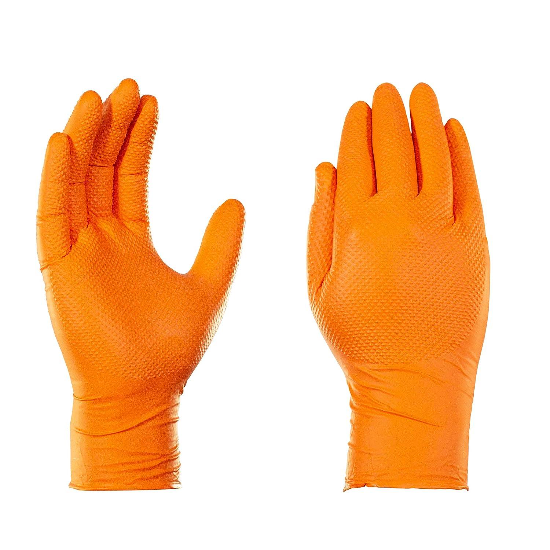 GLOVEWORKS Orange Nitrile Industrial Latex Free Disposable Gloves (Box of 100)